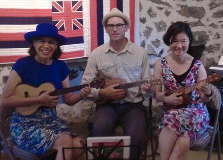 Jeff and Yumiko take lessons from Ukulele Mele