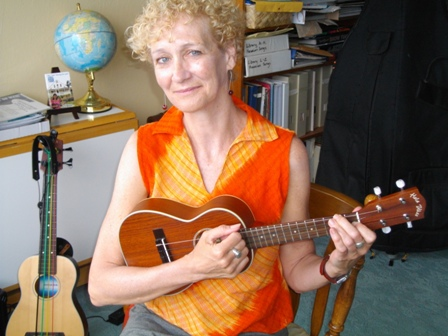 Joan plays with Ukulele Mele