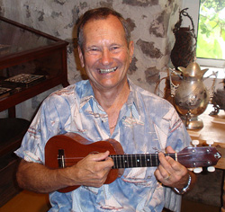 Bob learning ukulele with Mele