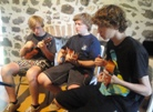 Kris, Nick adn Adam, ukulele students with Ukulele Mele on Maui